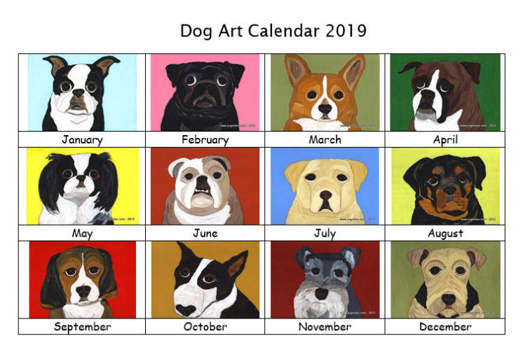 Dog Art Calendar 2019 - Preview