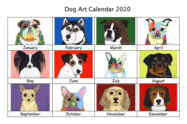 Dog Art Calendar 2020 - Preview