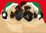 (HA94) - Holiday 2 Fawn Pugs