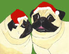 (HA19g) - 2 Holiday Fawn Pugs