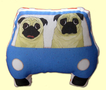 2 Fawn Pugs in their Blue Car