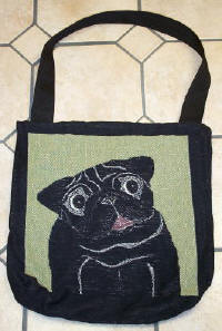 Black Pug side of Tote Bag