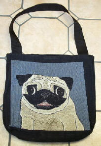 Fawn Pug side of Tote Bag