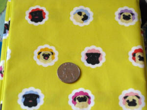 1 yard of Groovy Pugs - Sunny Yellow