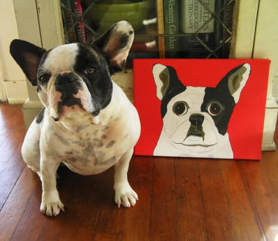 Betty the Frenchie with her 11 x 14 canvas!